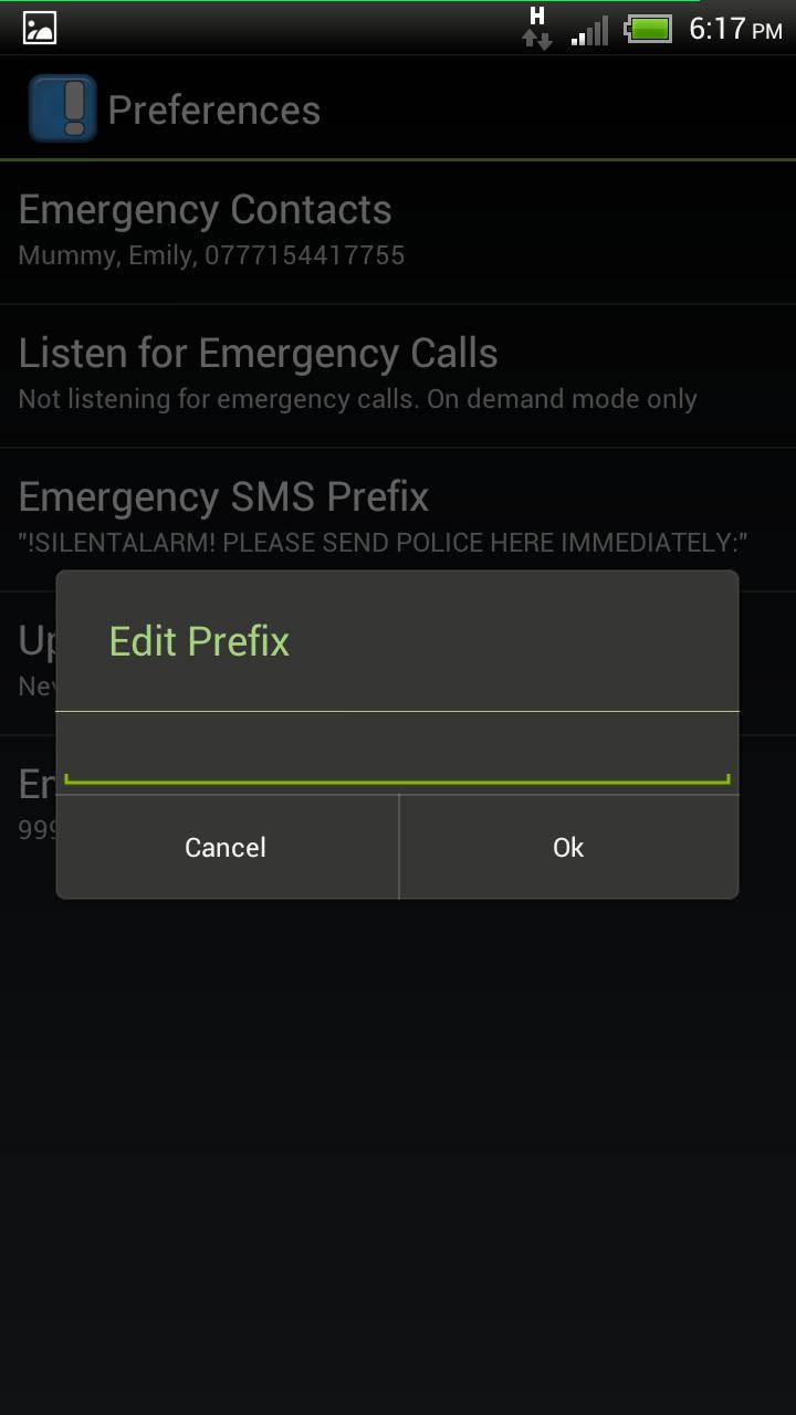 Emergency SMS prefix